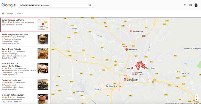 recherche de restaurant sur Google Maps