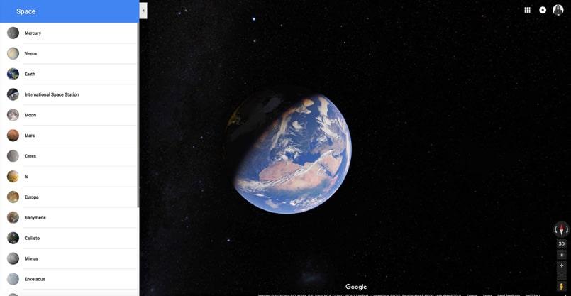 les planètes sur Google Maps