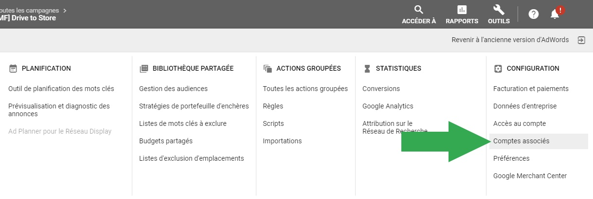Vérifier l'association entre Merchant Center et Google Ads