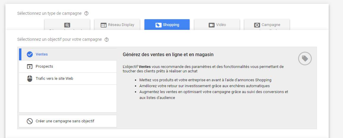 Créer sa campagne Google Shopping