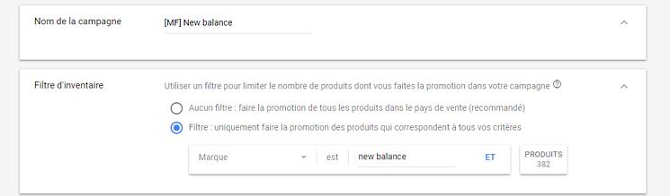 Créer sa campagne Google Shopping 2